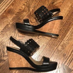 NWOB black wedge heels